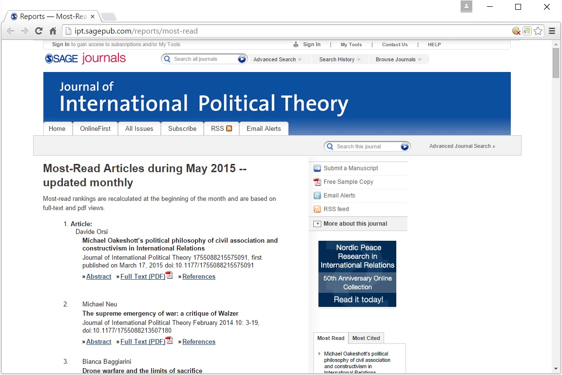 Davide Orsi's article on Oakeshott ranks as the most read JIPT article for May, 2015